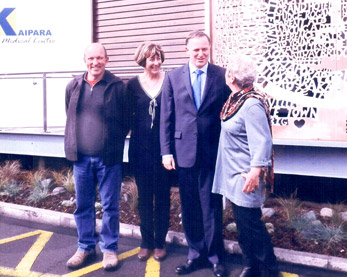 PM John Key opens ambulance ramp with screen designer local sculptor Jeff Thomson Dianne Kidd and Charm Torrance